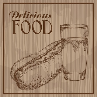 Delicious food hand drawn vintage poster