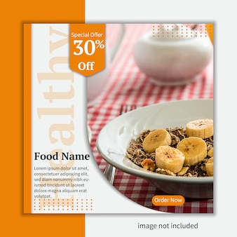 Delicious food instagram banner template vector