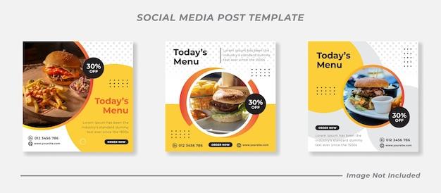 Вкусное меню еды и шаблон сообщения в социальных сетях ресторана
