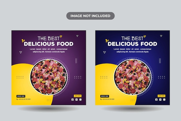 Delicious food social media banner design  templates