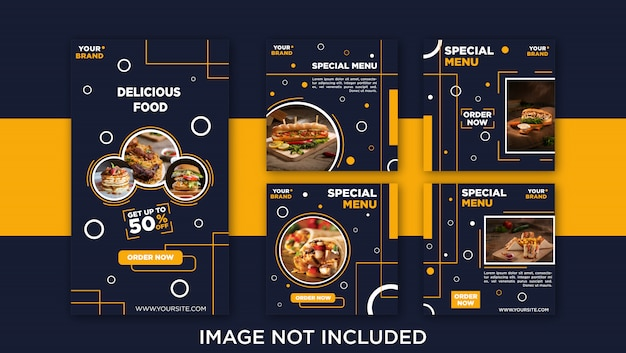 Delicious food social media feed post, banner template