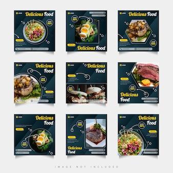 Delicious food social media post template set