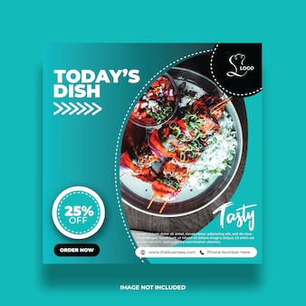 Delicious food social media promotion post colorful abstract template