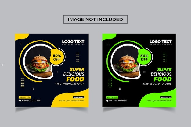 Delicious food social media square banner