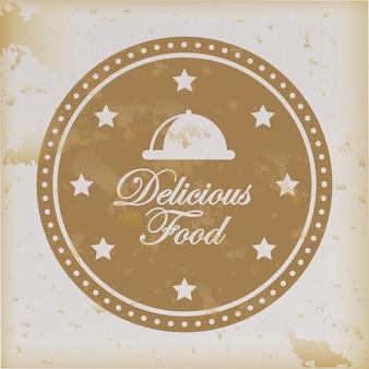 Delicious food over vintage background vector illustration