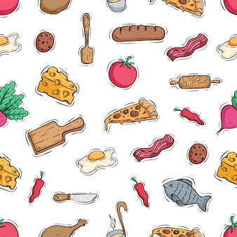 Delicious food with kitchen tools in seamless pattern