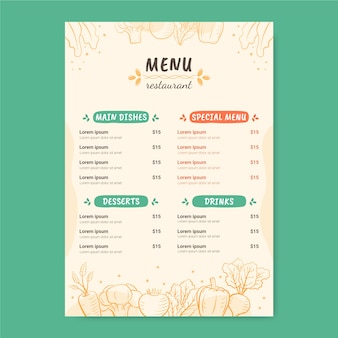 Delicious foods in a restaurant menu template