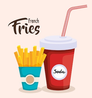 Delicious french fries with soda vector illustration design