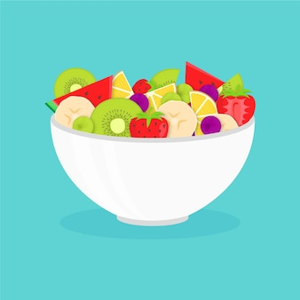 Delicious fruit salad in white bowl
