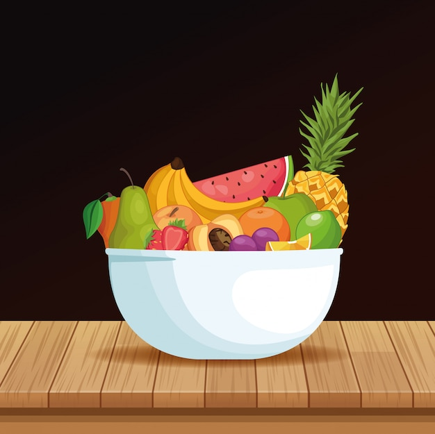 Delicious fruits in bowl cartoon