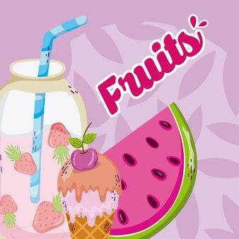 Delicious fruits cartoons