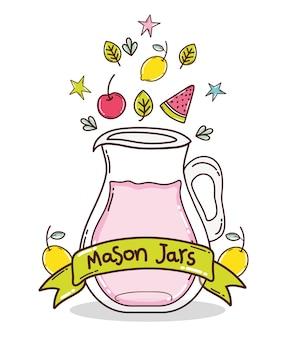 Delicious fruits juice mason jar