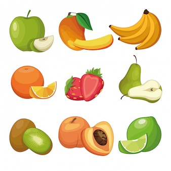Delicious fruits set of cartoons