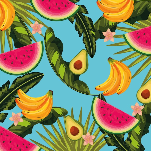 Delicious fruits and tropical leaves plants background