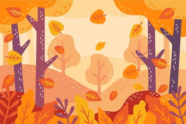 Fondo disegnato a mano di autunno delle foglie dorate deliziose