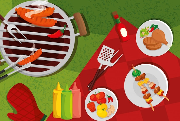 Delicious grill menu with oven and food