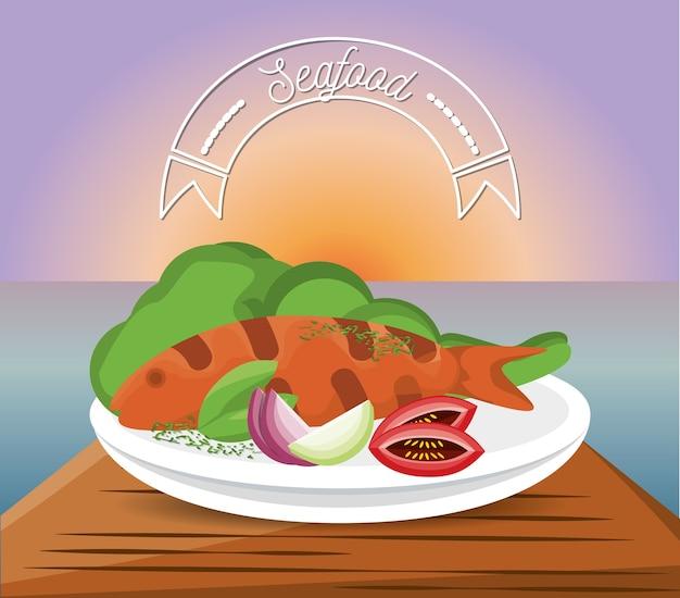 Delicious grilled fish menu restaurant