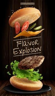 나무 배경에 재료를 날리는 맛있는 햄버거 광고