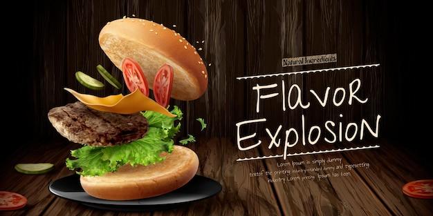 재료를 날리는 맛있는 햄버거 광고