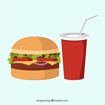 Delicious hamburger and soft drink