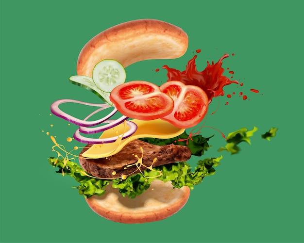 3d 그림에서 녹색 배경에 공기에 비행 inggreenients와 함께 맛있는 햄버거