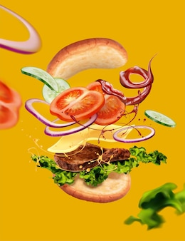 Delicious hamburger with ingyellowients flying in the air on yellow background in 3d illustration