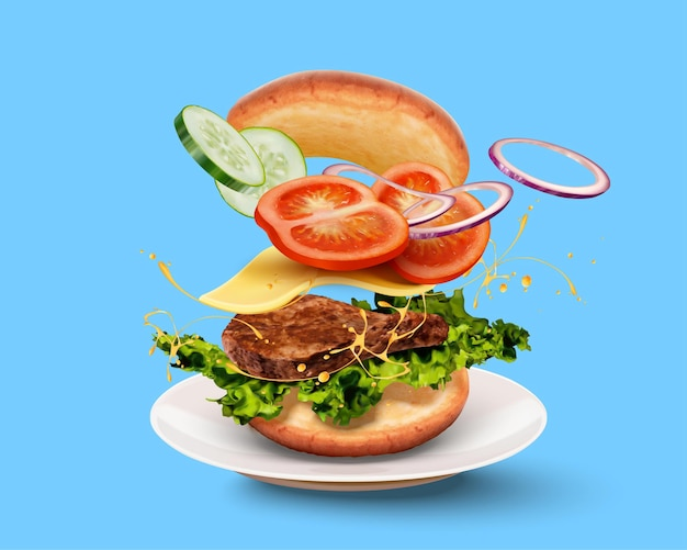 3d 그림에서 파란색 배경에 공중에서 비행하는 ingyellowients와 함께 맛있는 햄버거