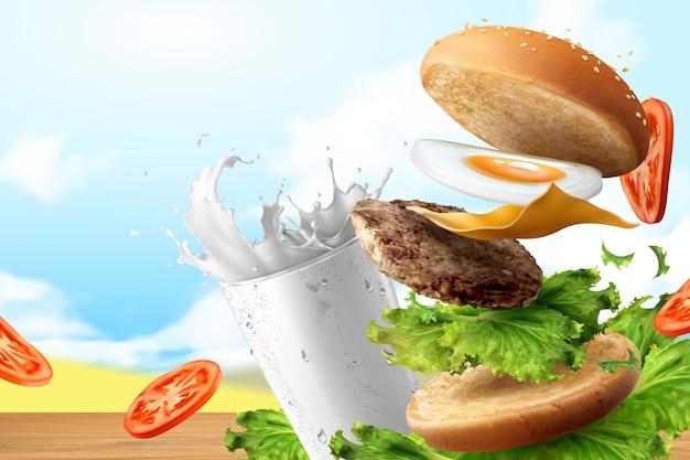 牛乳と3dイラストで飛ぶ野菜とおいしいハンバーガー