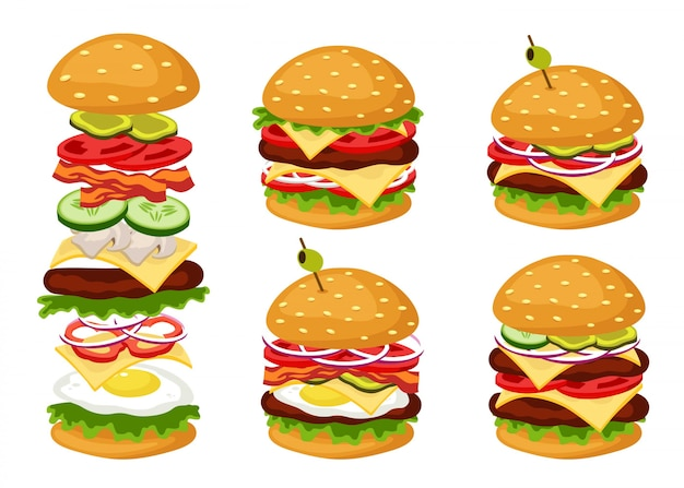 Delicious hamburguers dishes with diferent types of ingredients