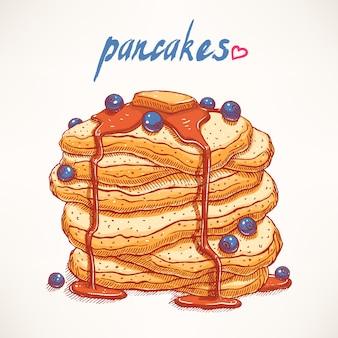 ブルーベリーとメープルシロップのおいしい手描きのパンケーキ