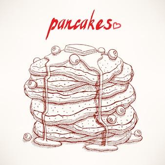 ブルーベリーとメープルシロップの手描きパンケーキ