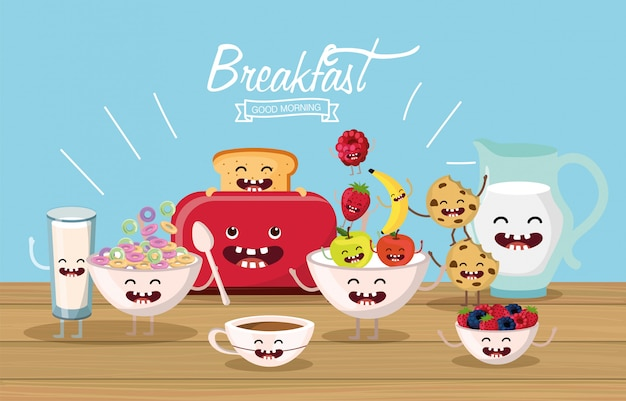 Delicious and happy breakfast food with arms and legs