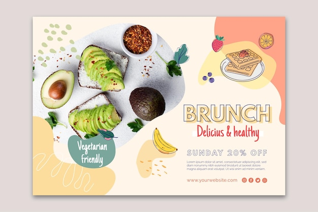 Delicious and healthy brunch banner