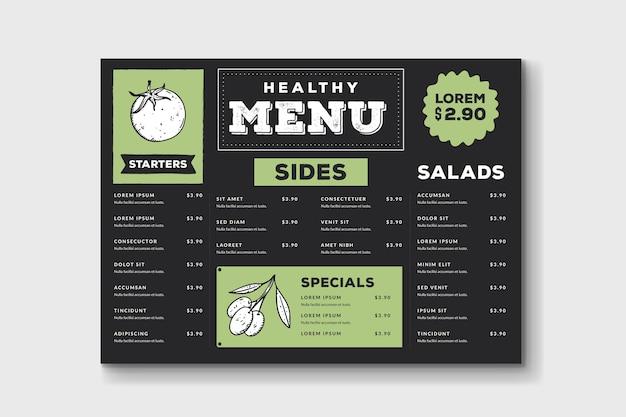 Modello di menu delizioso cibo sano