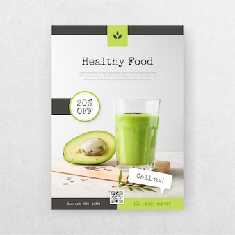 Delicious healthy food restaurant flyer with picture