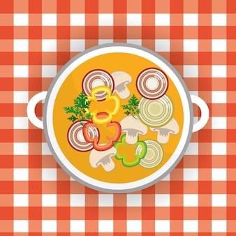 おいしい健康的な新鮮な野菜のスープ