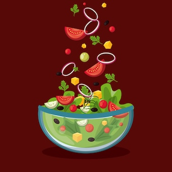 Delicious and healthy salad in bowl