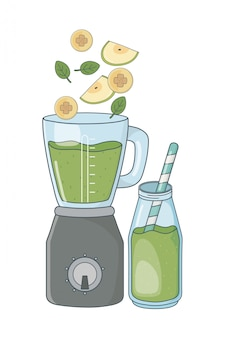 Delicious healthy smoothie cartoon