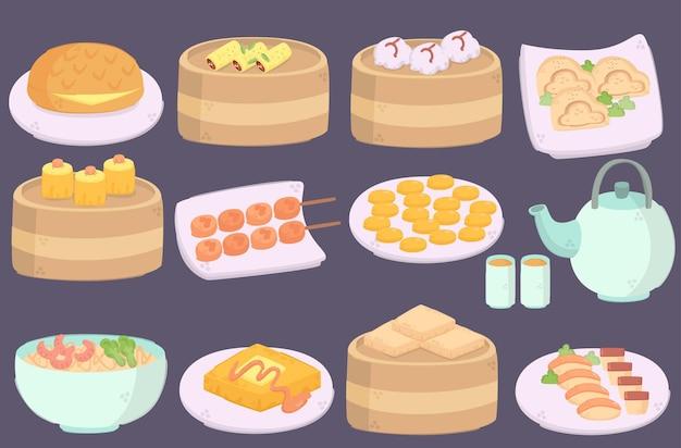Пакет иллюстраций вкусной кухни гонконга