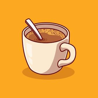 Вкусная чашка горячего кофе векторные иллюстрации дизайн