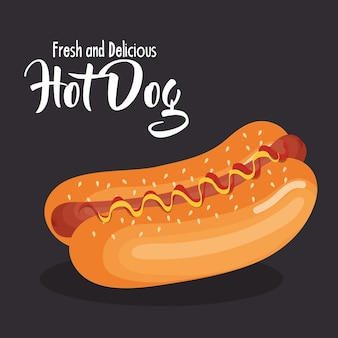 Вкусный хот-дог фаст-фуд векторной иллюстрации дизайн