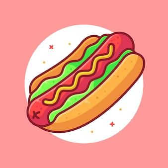 Вкусный хот-дог логотип вектор значок иллюстрации премиум фаст-фуд мультфильм логотип в плоском стиле