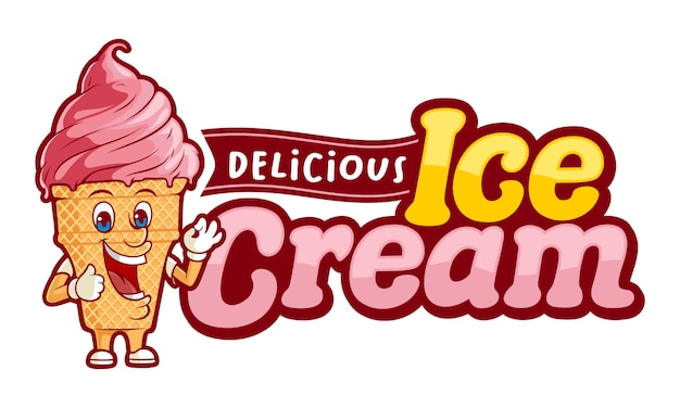 Delicious ice ceam, logo template with funny character