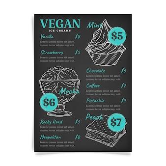 Delicious ice cream blackboard menu template