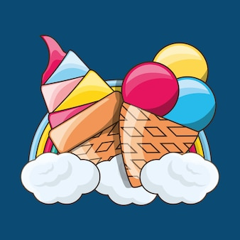 Delicious ice cream over colorful rainbow