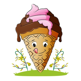 The delicious ice cream cone is melting of illustration