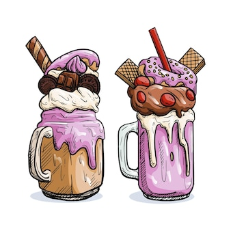 Delicious ice cream monster shakes