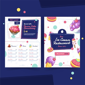 Delicious ice cream in a restaurant menu template