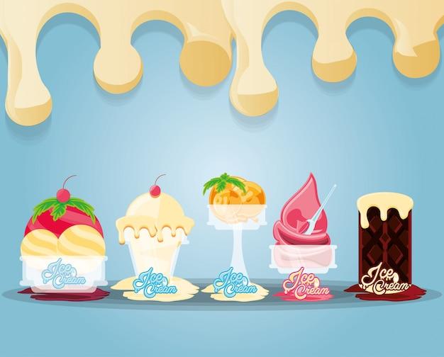 Delicious ice cream set menu