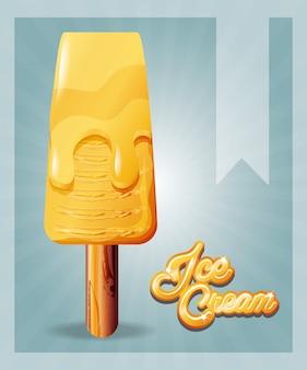 Delicious ice cream in stick